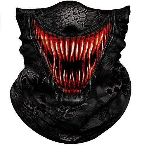Obacle Motorcycle Face Mask Sun UV Dust Wind Protection Tube Mask Seamless Bandana Face Mask for Men Women Bike Riding Cycling Biker Fishing Outdoor Festival (Red Teeth Black Face Mask) -