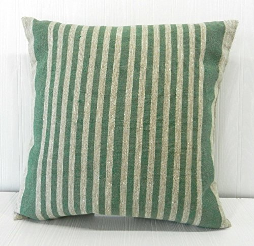 Pillow Cover Farmhouse Rustic Linen Green Narrow Stripe 18x18