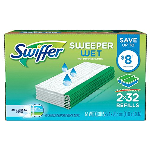 Swiffer Sweeper Wet Cloth Refill,Open Window Fresh Scent, 30 Count (Pack of 2) (10 x 8 IN)