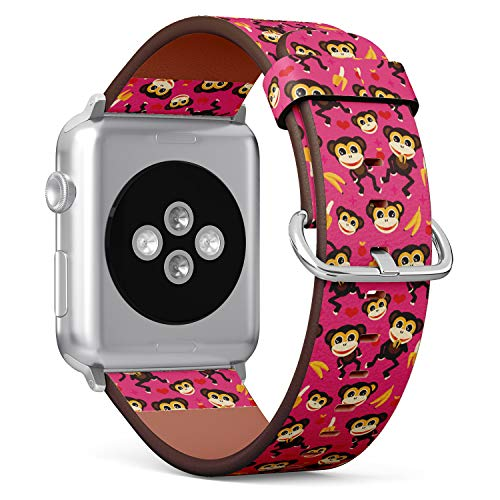 ((Adorable Kids Monkey and Banana Illustration) Patterned Leather Wristband Strap for Apple Watch Series 4/3/2/1 gen,Replacement for iWatch 38mm / 40mm Bands)