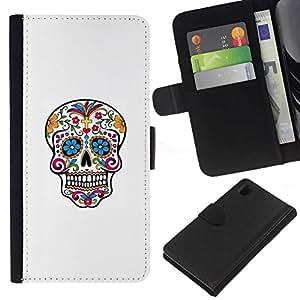 All Phone Most Case / Oferta Especial Cáscara Funda de cuero Monedero Cubierta de proteccion Caso / Wallet Case for Sony Xperia Z1 L39 // Colorful Sugar Skull