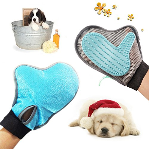 2-in-1 Pet Grooming Glove - Maxdee Grooming Tool+Furniture Pet Hair Remover For Dogs,Cats,Rabbits and Horses,Long,Medium and Short Hair Fur,Gentle and Effective Deshedding Brush-Your Pet Will Love It