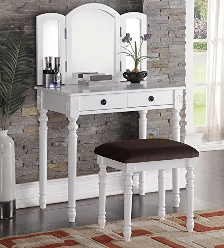 Mirror Vanity Set with Stool in White by Poundex