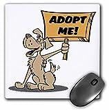 Dooni Designs Retro Style Cartoons - Retro Style Cartoon Dog Holding Adopt Me Sign Pet Adoption Cartoon - MousePad (mp_117503_1)