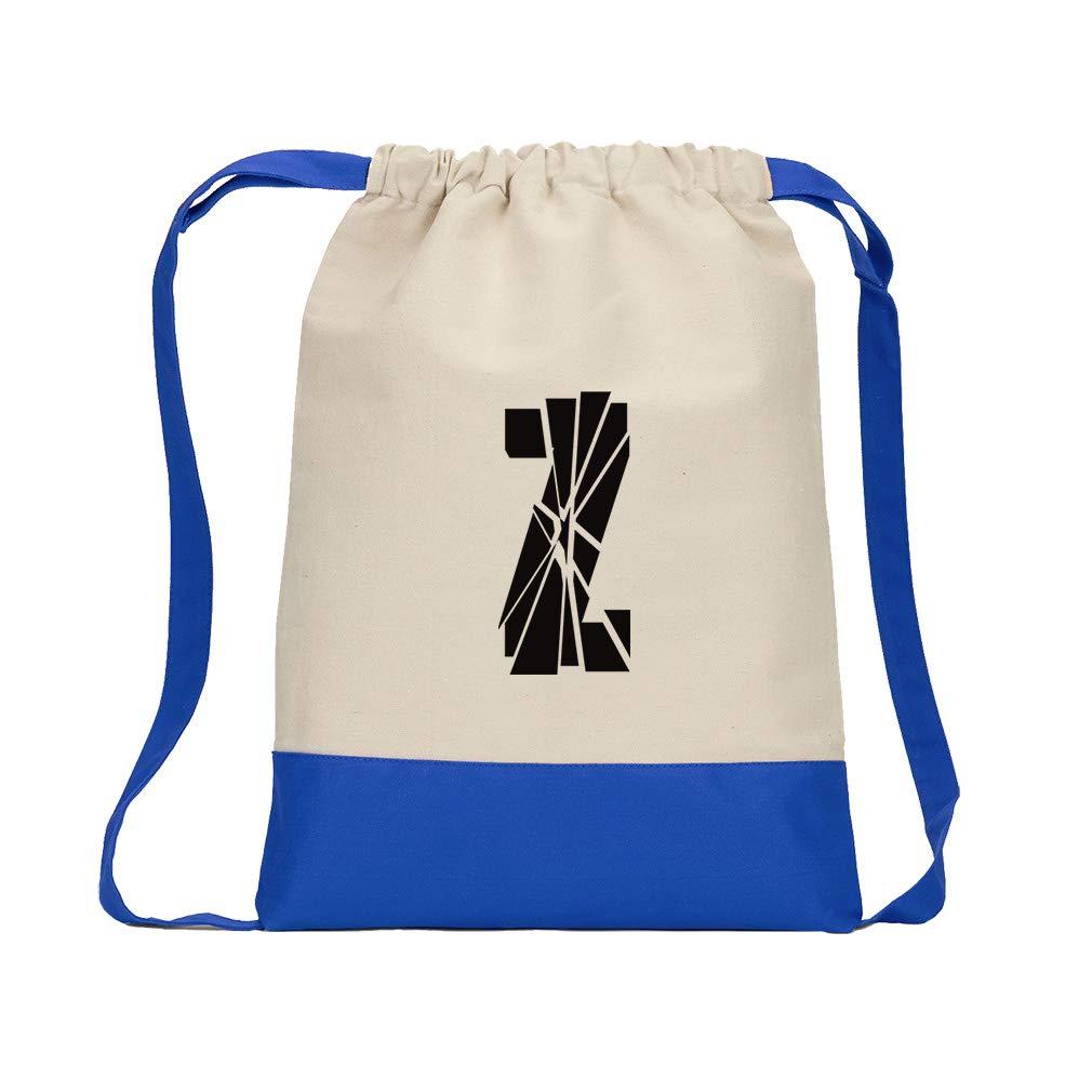 ''Z'' Glass Initial Monogram Letter Z Cotton Canvas Boys-Girls Backpack Color Drawstring Bag - Royal Blue