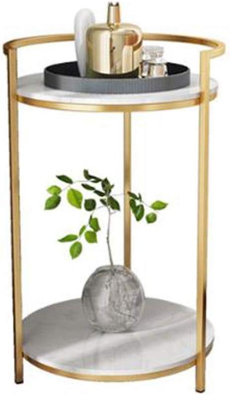 Bestellen L-Life bijzettafel, ronde salontafel van smeedijzer, eenvoudige 2-traps hoektafel van marmer, woonkamertafel, 50 x 75 cm wit 8Re9DhE