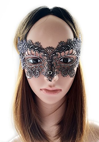 [Coolwife Women's Costume Party Lace Masquerade Mask Venetian Halloween Eye Mask (Silver Black)] (Old Lady And Old Man Halloween Costumes)