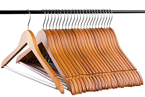 Light Cherry Everyday Wood Hangers with Non-Slip Bar and Notches, Super Sturdy and Durable Wood, 24 pack by Neaties (Image #1)
