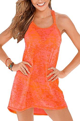 New arancione intrecciato burnout Racerback Beach Swimsuit Swimwear abito estivo taglia UK 12EU 40
