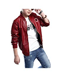 Monvecle Boy's Trendy Stand-Collar PU Leather Moto Jacket Coat 4-13