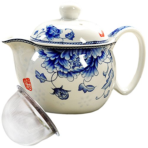 BandTie Convenient Travel Home Office Loose Leaf Chinese Gongfu Tea Brewing System-Blue and White Porcelain Teapot Ceramics Tea Pot with Stainless Steel Tea Infuser Strainer,Blue Peony