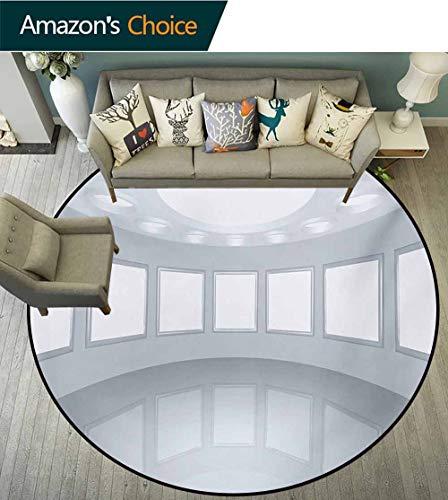RUGSMAT Modern Modern Machine Round Bath Mat,3D Visualization of Futuristic Interior Empty Picture Gallery Architecture Print Non-Slip No-Shedding Kitchen Soft Floor Mat,Round-35 Inch