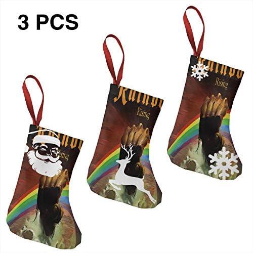 クリスマスの日の靴下 (ソックス3個)クリスマスデコレーションソックス けんかRainbow クリスマス、ハロウィン 家庭用、ショッピングモール用、お祝いの雰囲気を加える 人気を高める、販売、プロモーション、年次式