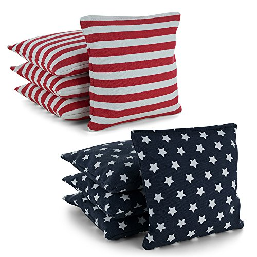 Tailor Spot Cornhole Bean Bags (Set of 8) Standard ACA/ACO Regulation Size Corn Filled 25+ Colors (Stars, Stripes)