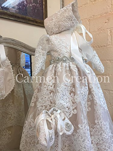 Venetian Baptism Gown Blush Pink by Carmen Creation