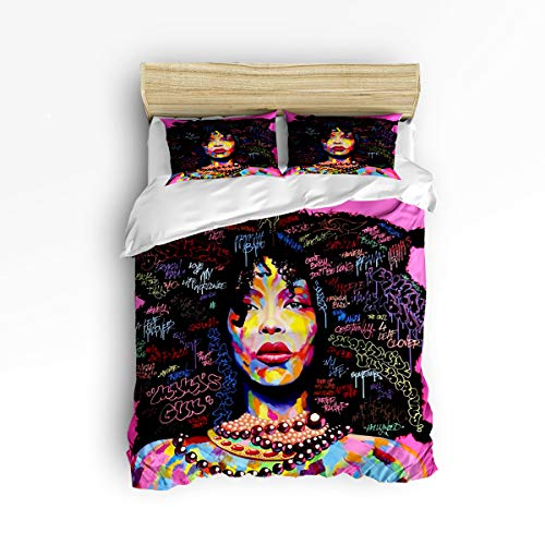 YEHO Art Gallery Fashion Duvet Cover Sets King Size African Women Graffiti Painting,Decorative 3 Piece Bedding Set Include 1 Comforter Cover with 2 Pillow Cases ()
