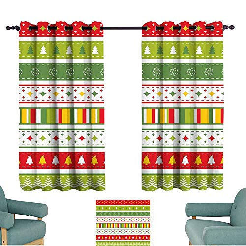 Hobnail Bell - Mannwarehouse Christmas Simple Curtain Set of Traditional Seasonal Borders Stars Bells Trees Stripes Print Darkening and Thermal Insulating 55