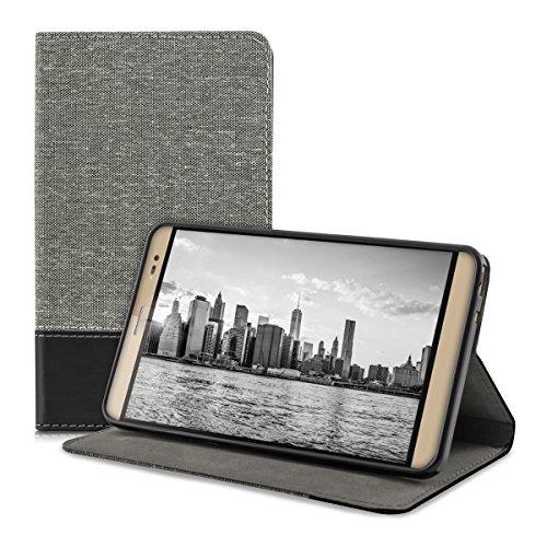 kwmobile Canvas Hülle für Huawei MediaPad X2 7.0 mit Ständer - Leinen Tablet Case Cover Tasche Schutzhülle in Grau Schwarz