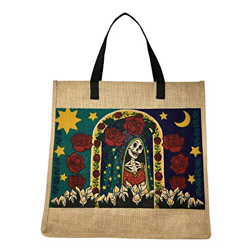 SpiritTote Sugar Skull X-Large Tote Bag: Day of the Dead Festive Jute Bag for Oversized Outings (Santa - Festive Santa Bag