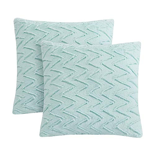 LIFEREVO 2 Pack Chevron Brushed Fleece Faux Fur Decorative Throw Pillow Case Soft Cushion Cover (Aqua, 18 x 18 Inch)