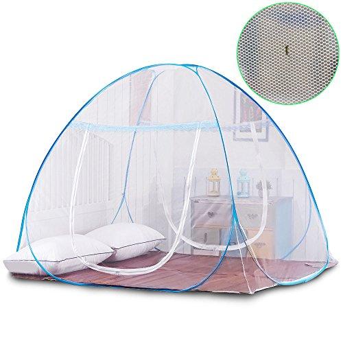 Yoosion 원터치 모기장 바닥 직물 달린 대형 더블 측면 도어 디자인 텐트 식 아기 성인 겸용 네 벌레 모기 방지 모기 인터넷 폴딩 일본어 설명서 폭 180cm 길이 200cm / Yoosion One Touch Mosquito Net With Bottom Fabric Large Size Double Doubl...