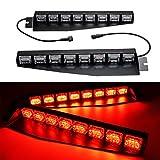 TASWK 48 LED Visor Light Windshield Emergency Strobe Light Warning Lightbar Beacon Split Mount Deck Dash Lamp a pair(Red)