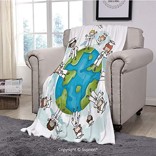(BeeMeng Throw Blanket/Super Soft Fuzzy Light Blanket,Graduation Decor,Cartoon Graduate Children on Top of The World Special Event Worldwide Decorative,Multicolor(51