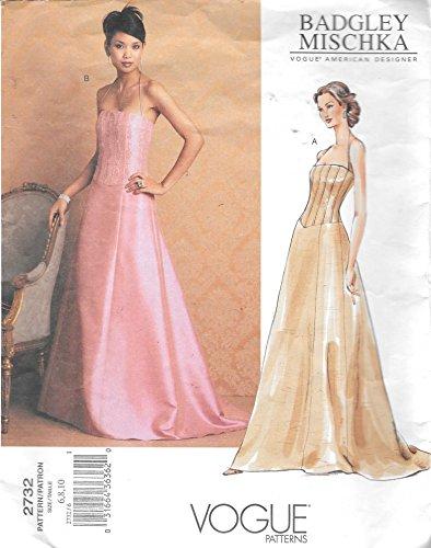 Vogue 2732 Formal Evening Dress Sewing Pattern Badgley Mischka Size 6 to 10 (Vogue Prom Dress Patterns)