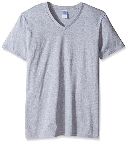 Gildan Men's Fitted V-Neck Cotton Tee, Sport Grey, Large