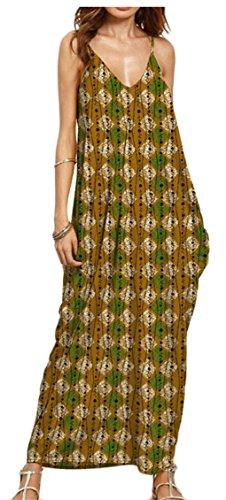 Jaycargogo Femmes Fines Bretelles V-cou Imprimé Floral Robe Élégante 3
