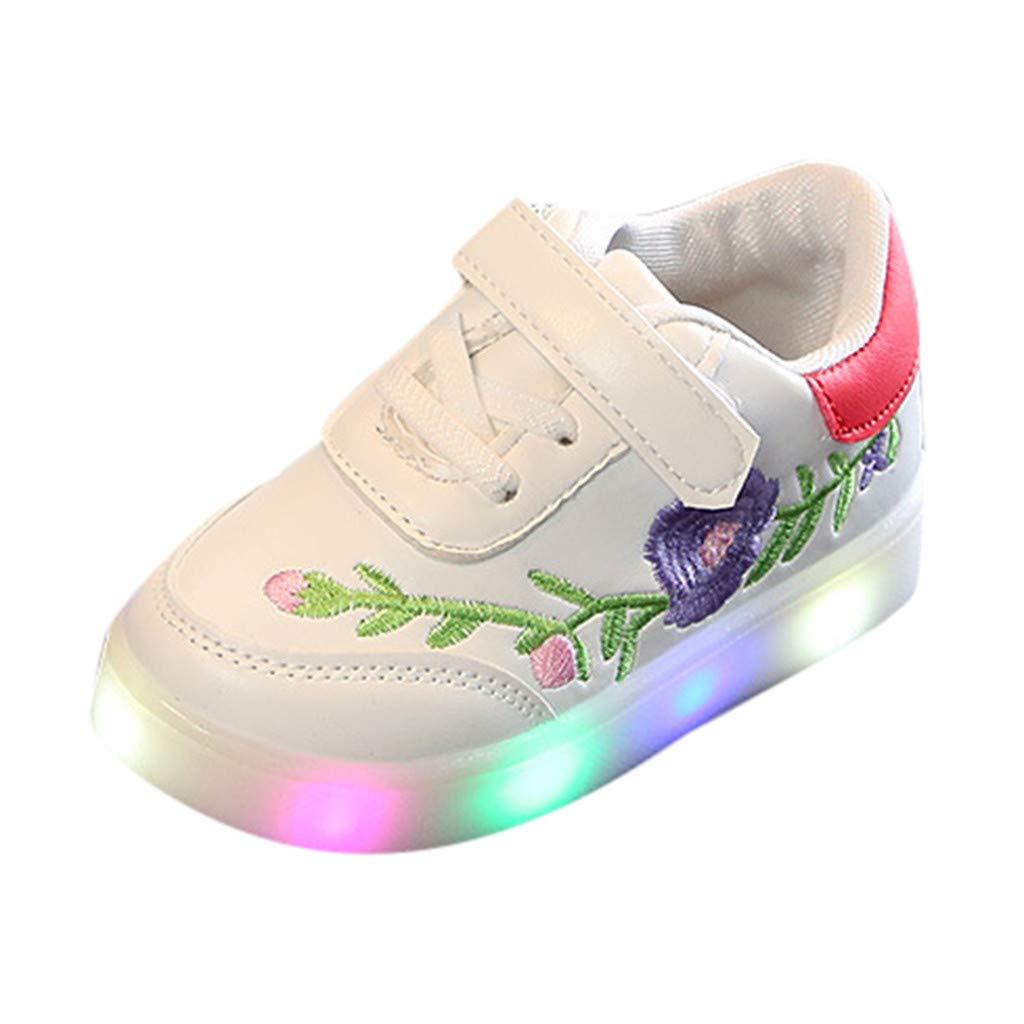 Kinder Babyschuhe LED Sneaker 1-6 Jahre Unisex Baby Junge M/ädchen Mode Gl/ühend Leuchtschuhe Kind Kleinkind Schmetterling Blume Stickerei Beil/äufig Bunt Licht Schuhe