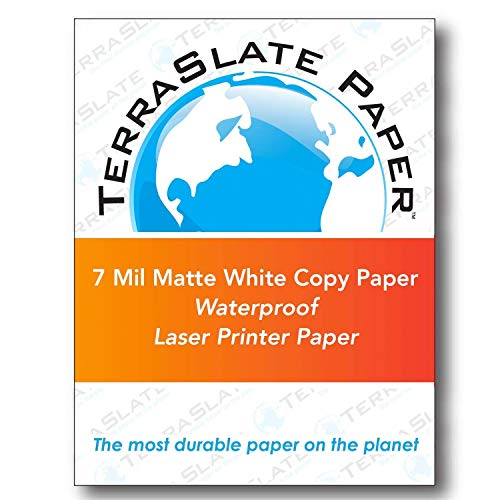 - TerraSlate Copy Paper Waterproof Laser Printer, Rain Weatherproof, 7 MIL, 8.5x11-inch, 50 Sheets