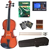 Cecilio CVN-100 Solid Wood Student Violin with Tuner and Lesson Book, Size 1/32