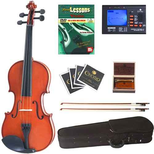 Cecilio CVN-100 Solid Wood Student Violin with Tuner and Lesson Book, Size 1/32 by Cecilio