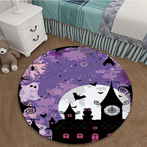Printing Nordic Carpets 3D Printed Area Rugs Parlor Round Mat Rugs 2.95 Ft Diameter Vintage Halloween,Halloween Midnight Image with Bleak Background Ghosts Towers and Bats Decorative,Purple Black ()