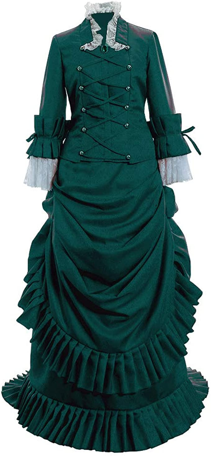 Victorian Dresses | Victorian Ballgowns | Victorian Clothing 1791s lady Womens Historical Inspiration Victorian Bustle Dress Gown Halloween Costume  AT vintagedancer.com