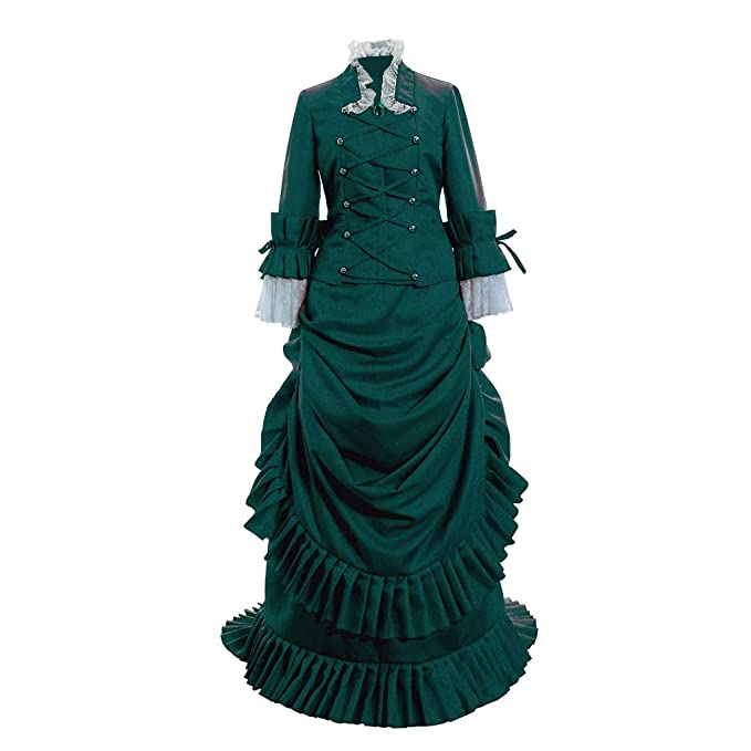 Old Fashioned Dresses | Old Dress Styles 1791s lady Womens Historical Inspiration Victorian Bustle Dress Gown Halloween Costume $152.80 AT vintagedancer.com