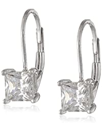 Plated Sterling Silver Princess-Cut Cubic Zirconia Earrings (1 cttw)
