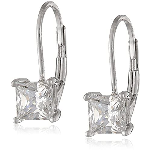 hot Plated Sterling Silver Princess-Cut Cubic Zirconia Earrings (1 cttw) get discount