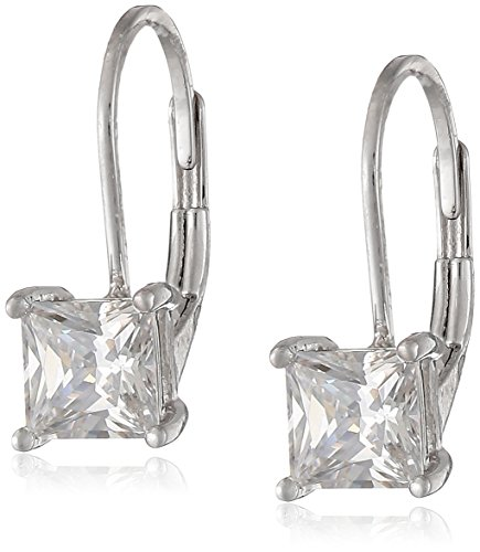 Silver Leverback Cubic Zirconia Earrings - Platinum Plated Sterling Silver Princess Cut 5mm Cubic Zirconia Leverback Earrings (1 cttw)