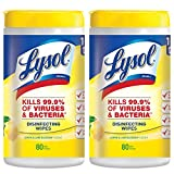 Lysol Disinfecting Wipes, Lemon & Lime Blossom, 80 (Pack of 2- 80x2)