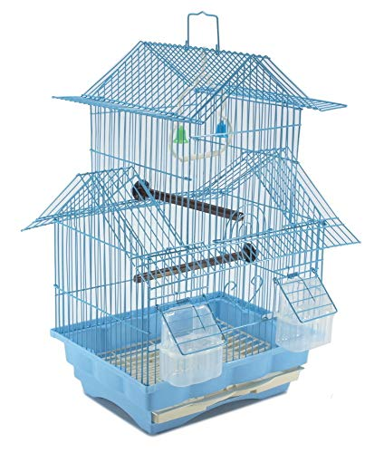 (EDM Bird Cage House Style - Blue - Starter Kit, Swing Perch Feeders - Two Story)