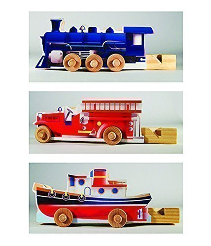 3 Wooden Whistle Vehicles.