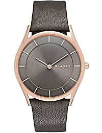 skagen womens classic grey leather dark dial watch