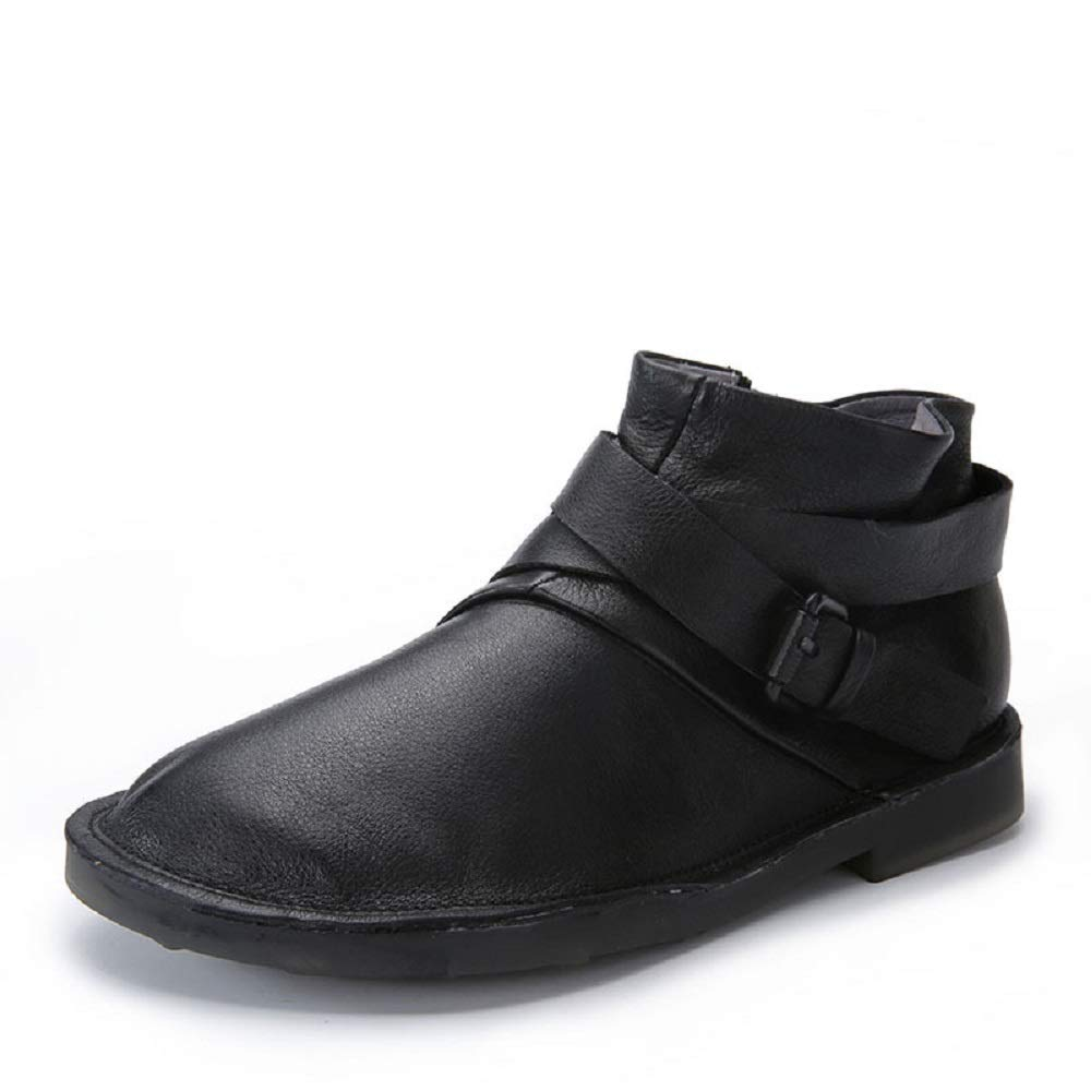 Gaslinyuan Bucke Damen Stiefel Leder Soft Knöchel Flache Schuhe (Farbe   Schwarz, Größe   EU 39)