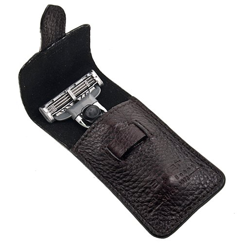 Parker Safety Razor's Chrome Handle Travel Razor (accepts Mach 3 and Gillette3 blades) - Genuine Leather Case included