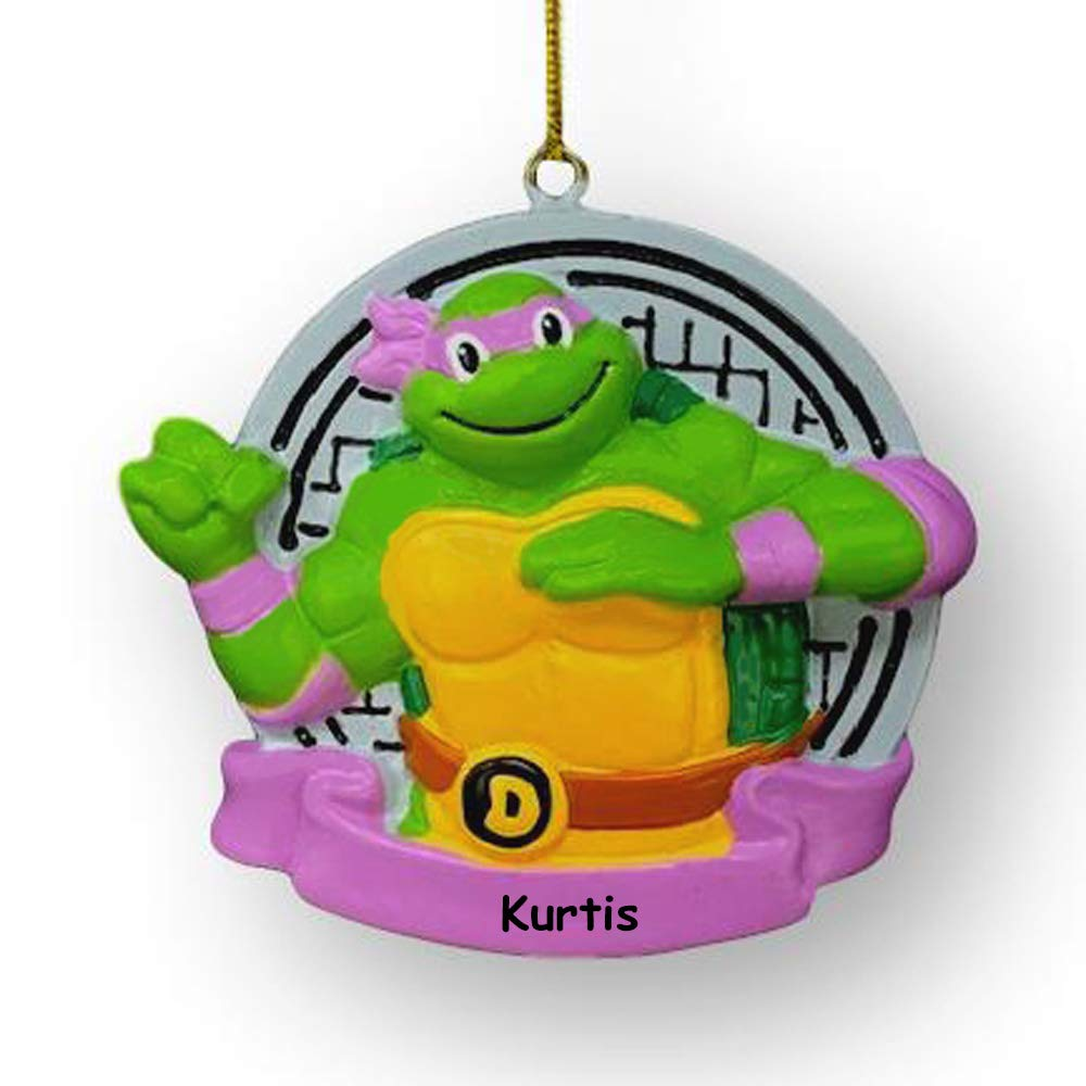 Kurt Adler Personalized Nickelodeon Teenage Mutant Ninja Turtles Donatello Character Christmas Tree Ornament with Custom Name