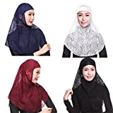 GladThink 4 X Womens Muslim Lace 2 Pieces Hijab Scarf Set No.4