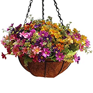 Mynse Daisy Flower Artificial Hanging Plant Home Balcony Indoor Outdoor Decor Fake Flower Hanging Basket with Chain Flowerpot 111