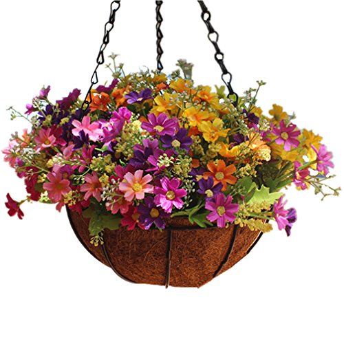 Mynse Daisy Flower Artificial Hanging Plant Home Balcony Indoor Outdoor Decor Fake Flower Hanging Basket with Chain Flowerpot (Big Basket with Artificial Daisy - Artificial Coconut